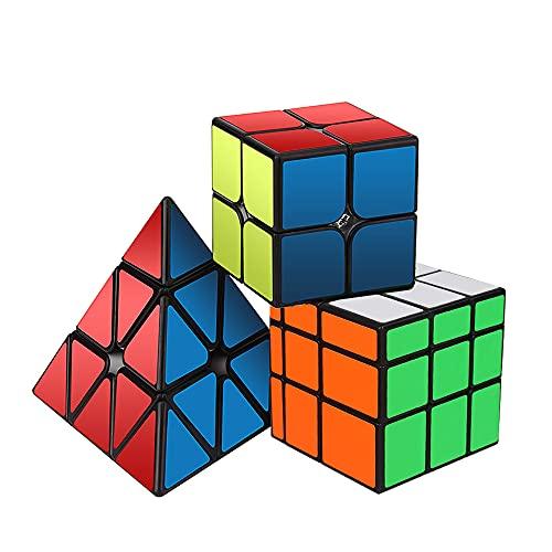 ROXENDA Cubos de Velocidad, Original Magic Cube Set de 2x2 3x3 Pyramid Speed Cube, Fácil Rotación & Juego Suave - Qiyi Cube Set para Principiantes y Profesionales