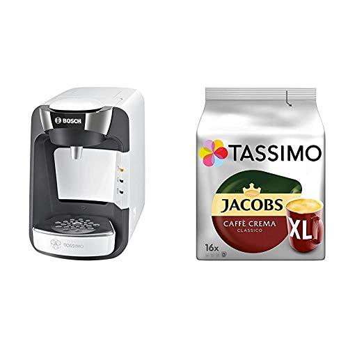 Bosch TAS3204 Tassimo Suny Kapselmaschine, über 70 Getränke, vollautomatisch, geeignet für alle Tassen + Tassimo Kapseln Jacobs Caffè Crema + Latte Macchiato + Milka + Probierbox