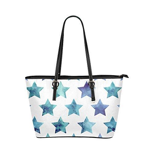 Plsdx Schöne farbige Glitzer-Sterne große weiche Leder tragbare Top Hand Totes Taschen kausalen Handtaschen mit Reißverschluss Schulter Einkaufstasche Geldbeutel Organizer für Lady Girls Womens Work