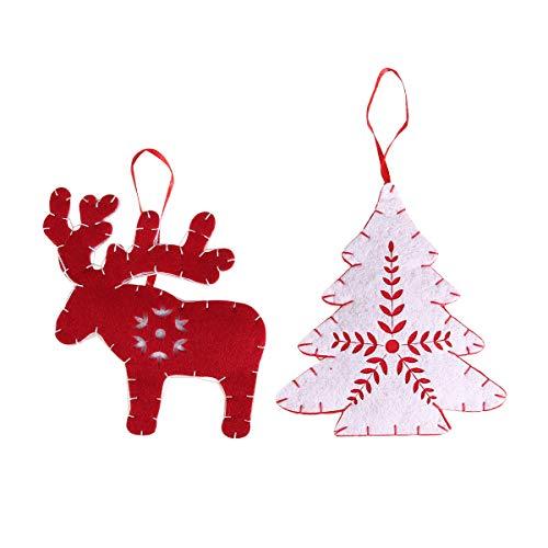 PRETYZOOM 2PCS Adorno Colgante de Navidad Fieltro Colgante Accesorios de Fiesta Suministros de Navidad para la Fiesta de jardín en casa (Estilo Aleatorio)