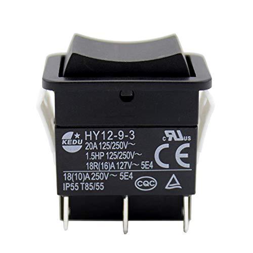 KEDU HY12-9-3 6 Pines Interruptor Basculante de Herramienta Eléctrica Interruptores de Botón Curvo ON-OFF-ON con Función de Reinicio Automático 125/250V 20A 1.5HP,2 Piezas