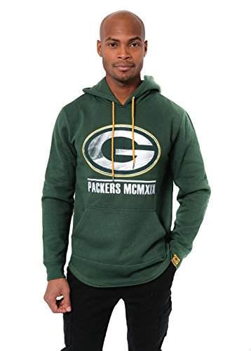 Ultra Game NFL Green Bay Packers Mens Embroidered Fleece Hoodie Pullover Sweatshirt, Team Color, Large