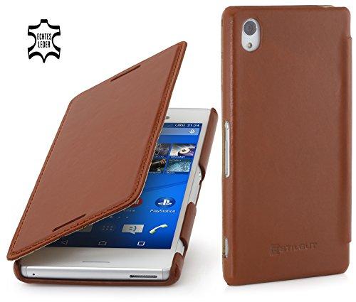 StilGut Book Type Case ohne Clip, Hülle aus Leder für Sony Xperia M4 Aqua, Cognac
