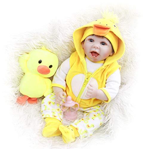 22 'Soft Vinyl Handmade Neugeborene Silikonpuppen Echt aussehende lebensechte gelbe Kleidung und Enten Spielzeug Set Reborn Dolls