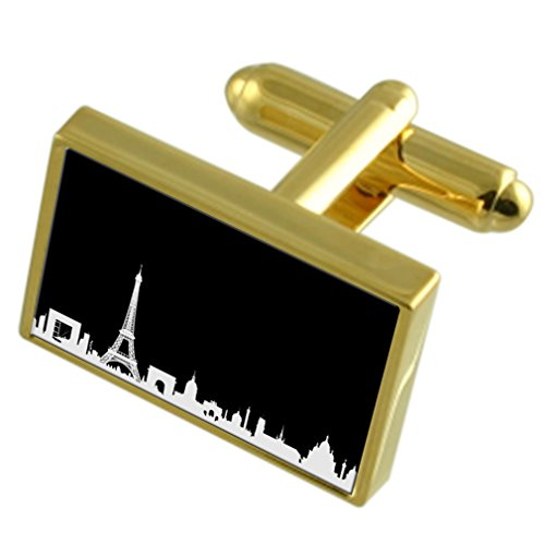 Select Gifts Toits de Paris l'or-ton sac noir Boutons de manchette