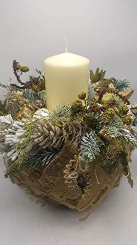 Weihnachtskranz Adventskranz Weihnachtsgesteck Kerze Kugeln Zapfen Geschenke XL