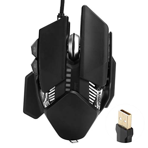 Mechanical Mouse Ergonomic Gaming Adjustable Tail Wired Computer Supplies 4000DPI Mechanical Gaming RGB Mouse Wired Optical USB Mice with Adjustable DPI