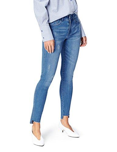 Marca Amazon - find. Camisa Oversized de Popelina para Mujer, Azul (Mid Blue), 34W / 32L, Label: 34W / 32L
