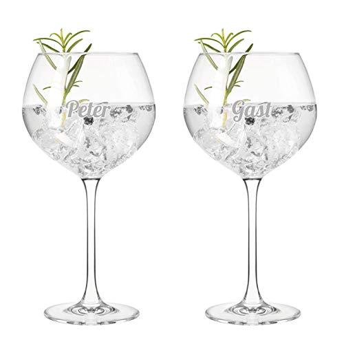 """Gin-Glas """"Modern"""" in Kelchform mit Namensgravur (2er Set)   Geschenk für Gin-Liebhaber 240ml   inkl. Verpackung mit Gin-Rezepten"""