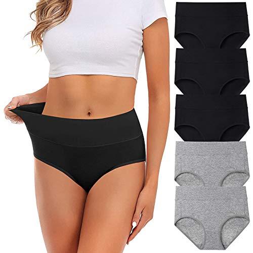 UMMISS Women's Soft Cotton Underwear Panties, Stretch Comfort Brief Underwear for Women-5 Pack -Multi -L.