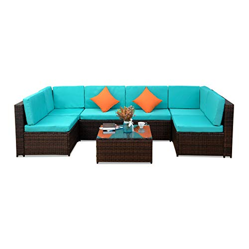 KYEEY 7 pcs Patio Outdoor Furniture Sets, Low Back All-Weather Rattan Sectional Sofa with Tea Table&Washable Couch Cushions