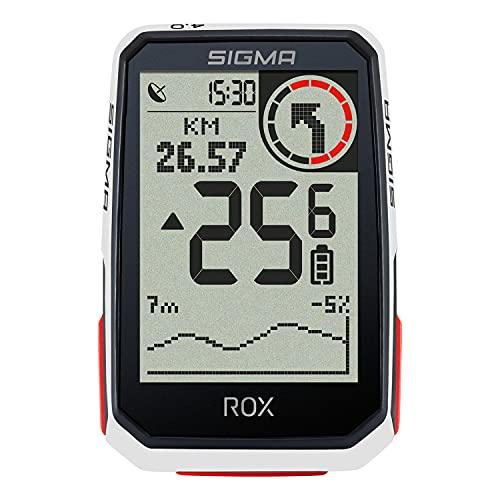 SIGMA SPORT ROX 4.0 Blanco | Ciclocomputador inalámbrico GPS y navegación, con Soporte GPS | Navegación GPS en Exteriores con altimetría