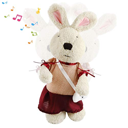 Houwsbaby Easter Musical Rabbit in Detachable Dress with a Mini Bag Interactive Stuffed Animal Dancing Singing Bunny Egg Hunting Plush Toy Gift for Girls Kids Holiday, 16'' (WineRed)