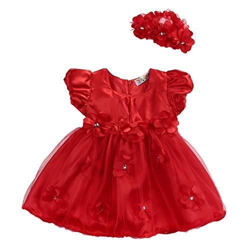 Newborn Baby Girls Xmas Dress Red Rose Flower Lace Ruffle Bubble Tulle Princess Dress (0-6Months)