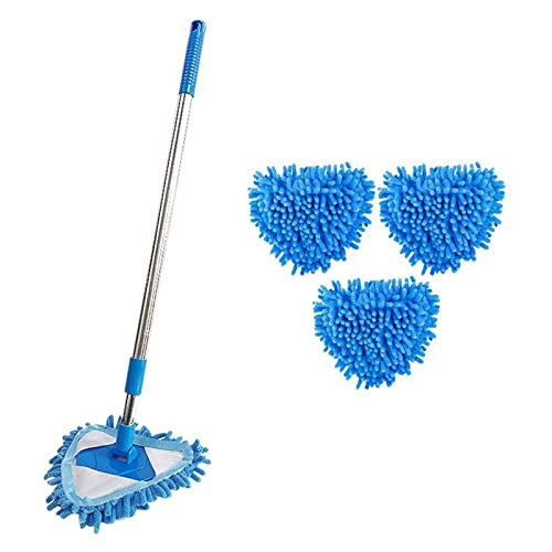 La Mini Fregona de Microfibra Azul se Puede Girar 180 Grados, Fácil de Limpiar, Piso de Baldosas de Techo de Cocina de Baño Doméstico (tamaño : Three mop Heads)