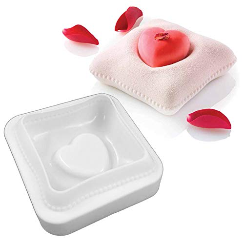 3D Love Pillow Cake Topper Decoration Silicone Mold, Creative DIY Baking Bakeware Tray for Romantic Birthday Party, Chocolate Candy Jelly Fondant Gum, Ice Cube, Clay Artwork; 15BZ