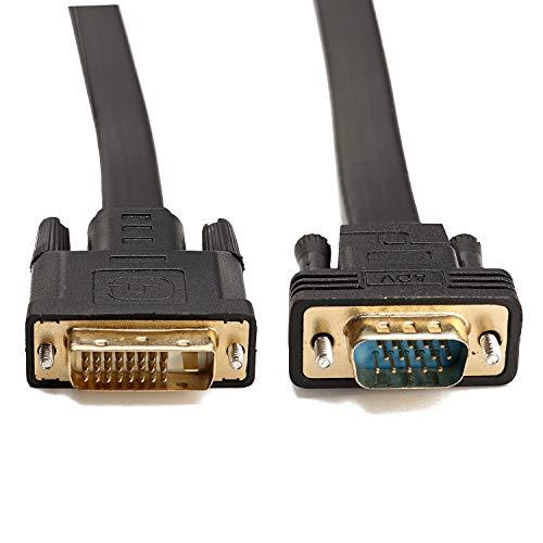 CableDeconn Active DVI-D Dual Link 24 + 1 maschio a VGA maschio video con piatto cavo adattatore convertitore