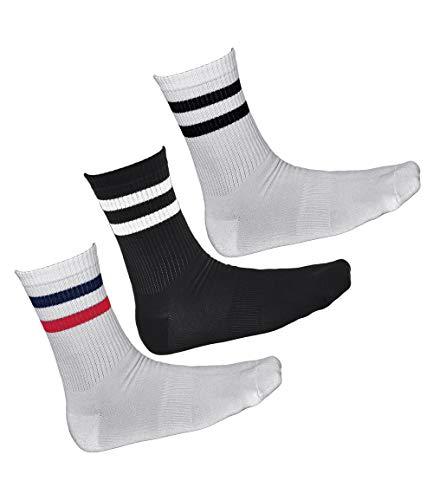 vitsocks Calcetines Deporte BAMBÚ Antiampollas Hombre (3 PARES) Skate Tenis, 2x blancos 1x negro, 39-42