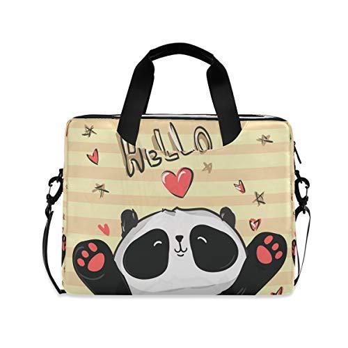 Hello Love Heart Animal Panda Funny Cute 15.6' 16' Laptop Case Sleeve Briefcase Computer Shoulder Bag W/Strap