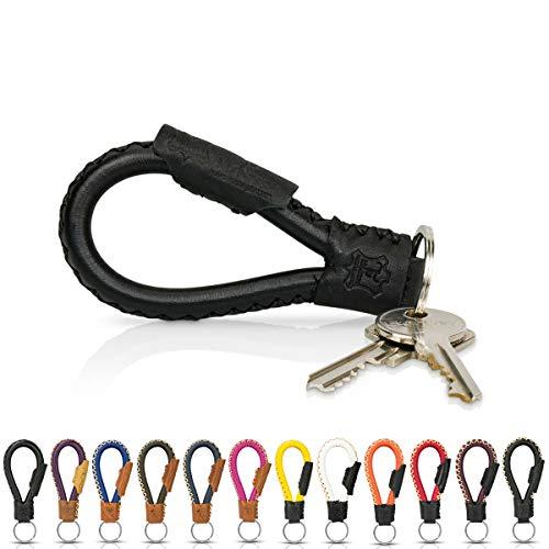 Tumatsch-Leder© Fair-Trade Schlüsselanhänger aus Echt-Leder in Handarbeit hergestellt. Schlüsselband/Lanyard - Bangkok in vielen Farben, Unisex für Damen & Herren (Schwarz)