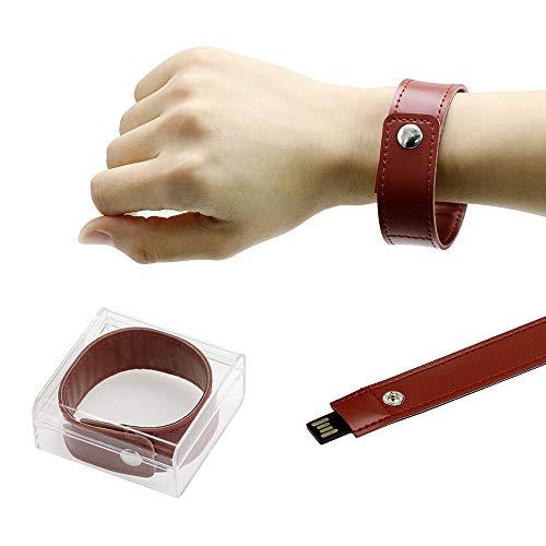 Pendrive 16GB USB 2.0 Flash Drive Brazalete de Cuero Artificial Pulsera Pulsera Pen Drive Memoria USB 16 GB Marrón Civetman