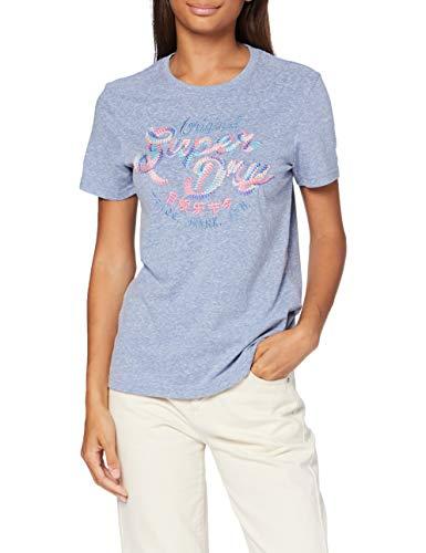 Superdry Damen NO Multi Embroidery Entry Tee T-Shirt, Blau (Cali Blue Snowy UM0), XXL (Herstellergröße:18)