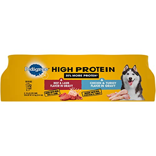 PEDIGREE High Protein Adult Canned Wet Dog Food Variety Pack, Chicken & Turkey Flavor in Gravy and Beef & Lamb Flavor in Gravy, (12) 13.2 oz. Cans