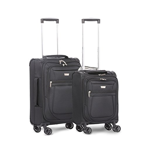 Aerolite Carry On 21' & Underseat 17 Inch Ultra-Lightweight Spinner Suitcase Set for Delta, American, United & Southwest Airlines (Grey)