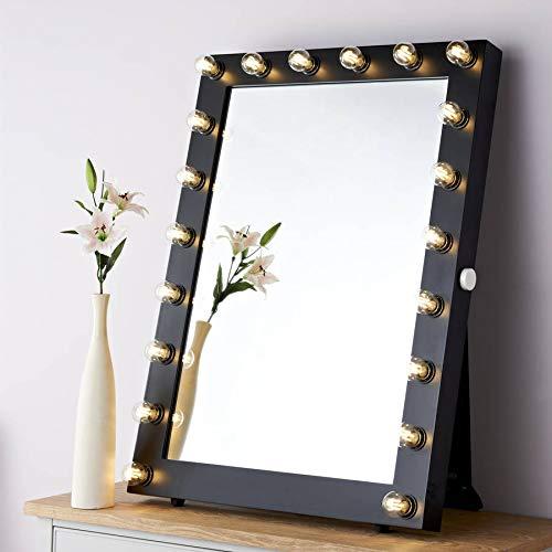 Reflections Of Me Starlight Porträtspiegel, beleuchtet, Hollywood Theater, Schminkspiegel Black Satin