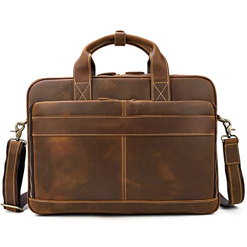 Laptop Messenger Satchel Bag Briefcase Handbag, Mens 15inch Laptop Portfolio Crossbody Shoulder Handbag Genuine Leather Messenger Satchel Bag Business Briefcase Office Work Bag PC Netbook Classic Styl