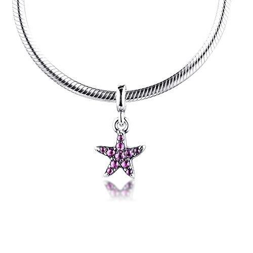 LISHOU Mujer Pandora S925 Sterling Silver Me My Pink Starfish Dangle Me Bangle Charms Bead Fashion Girl Pulsera Collares Fabricación De Joyas DIY