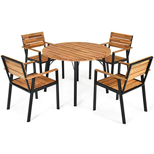 Tangkula 5 PCS Outdoor Patio Dining Set with Umbrella Hole, Garden Dining Furniture w/Round Table & 4 Stacking Armchairs, Acacia Wood Tabletop, Conversation Chat Set for Backyard, Porch, Poolside