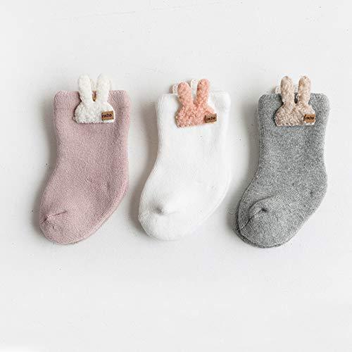 Barakara Calcetines para Bebé, 3 Pares Calcetines Gruesos Espesar Cálidos Suaves y Cómodos, Lindos Calcetines Borrosos de Invierno Largos de Algodón para Niños Infantil 0-36 Meses-Conejo