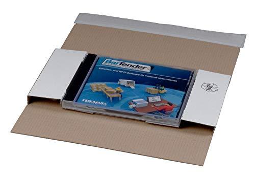 KK Verpackungen® CD-Versandverpackungen | 100 Stück, Versandkarton in DIN lang für 1 CD/DVD Jewel Case | Portooptimierte Versandtaschen aus Wellpappe in Weiß