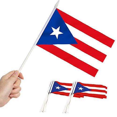Anley Puerto Rico Mini Flag 12 Pack - Hand Held Small Miniature Puerto Rican Flags on Stick - Fade Resistant & Vivid Colors - 5x8 Inch with Solid Pole & Spear Top
