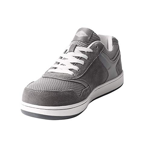 Steel Edge Skater Style Safety Toe Athletic Shoes for Men, Solid Rubber Outsole Skate Shoes, Slip-Resistant Sneakers for Men, Electric Hazard Protection Steel Toe Shoes Men, Pig Suede Leather Grey