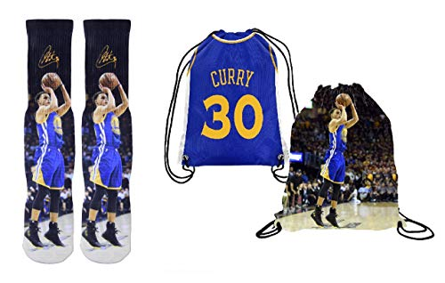 Forever Fanatics Curry 30 Ultimate Basketball Fan Gift Set Bundle ✓ Curry 30 Crew Socks Sizes 6-13 ✓ Gift Packaging in Curry 30 Picture Backpack (Size 6-13, Curry #30)