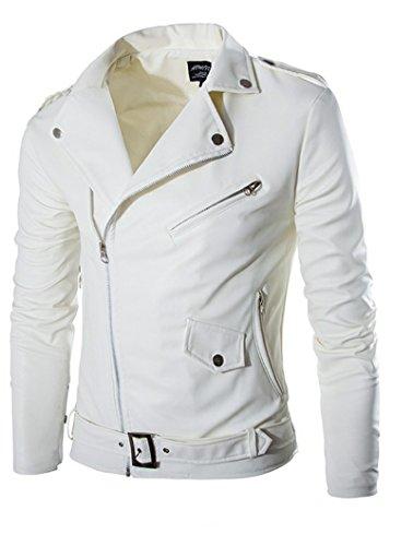 Elonglin Jaqueta masculina de couro sintético para motociclista jaqueta de motocicleta com zíper gola clássica mantém quente outono inverno branco, Branco, Size US S (Asian M)
