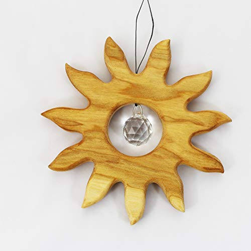 Fensterdeko aus Holz 12cm, kleine Sonne mit Kristall, Holzdeko, Fensterschmuck