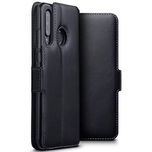 TERRAPIN, Kompatibel mit Huawei P30 Lite Hülle, Premium ECHT Spaltleder Flip Handyhülle Huawei P30 Lite Hülle Tasche Schutzhülle, Schwarz
