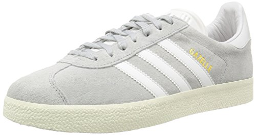 adidas Gazelle Zapatillas, Unisex-adulto, Gris (Clear Onix/White/Gold Met), 44 2/3