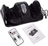 XtremepowerUS Foot Massager Machine Massage Feet Chronic Nerve Pain Therapy Spa Deep Kneading Rolling Massage for Leg Calf Ankle Electric Shiatsu Foot Massager w/Remote, Black