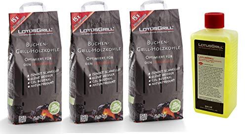 Lotus-Grill Carbone di faggio, Sacco da 2,5 kg, con Pasta combustibile LotusGrill, 500 ml, Entrambi sviluppati per Grigliare Senza Fumo con Il Barbecue LotusGrill