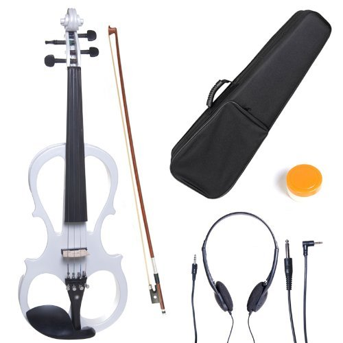 Cecilio CEVN-1W Style 1 Silent Electric Solid Wood Violin with Ebony Fittings in Metallic Pearl White, Size 4/4 (Full Size)