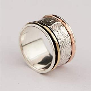 Spinner Ring - Meditation Ring - Anti Stress Ring - Three Metal Rings - Multi Metal Ring - Mixed Metal Ring - Silver Ring - Unisex Ring - Yoga Ring - Ring Size US11