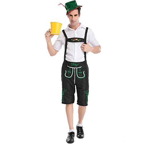 Mannen Oktoberfest Beierse Kostuum Volwassen Bier Festival Fancy Jurk, Tops, Leatherhouse stijl Broek, Hoed Set S-XXL
