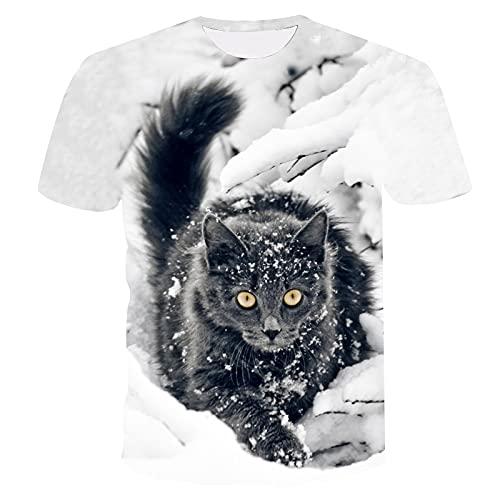 Camisetas para Hombre 3D Cat Graphics Print Camisetas de Verano de Animales de Manga Corta XS