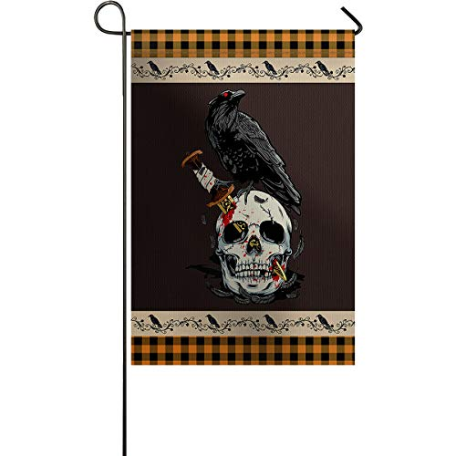 Halloween Skull Knife Crow Garden Flags for Outdoor Yard Porch, Weather Resistant Welcome House Flag Seasonal Home Decoration Orange Black Checker