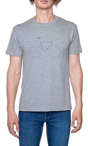 Bike Parts Anatomy Camiseta para Hombre Gris De Manga Corta Ligera Informal con Cuello Redondo Men's Tshirt Grey M