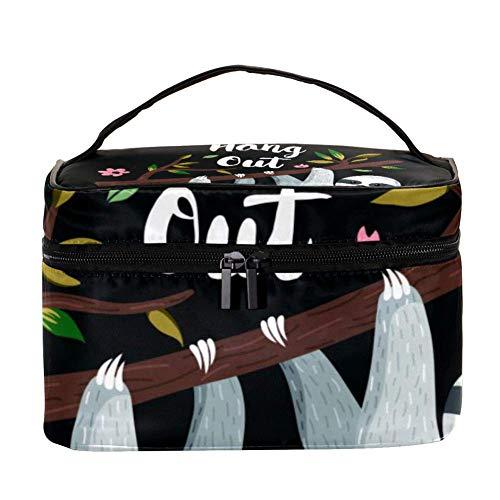 Trousse de maquillage avec motif arbre de Noël et flocons de neige - Organiseur de rangement - Trousse de toilette de voyage avec poignée, pinceaux de maquillage, rouge à lèvres